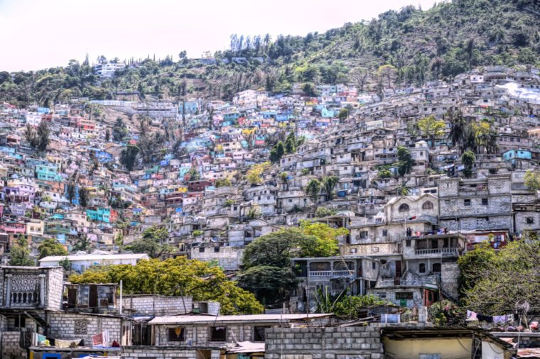 Digital art, Housing stacked up a hillside in Port-Au-Prince, Haiti