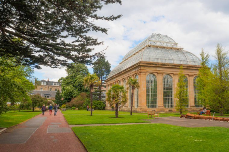 The Victorian Tropical Palm House, the oldest glasshouse at the Royal Botanic Gardens, a public park in Edinburgh, Scotland, UK.