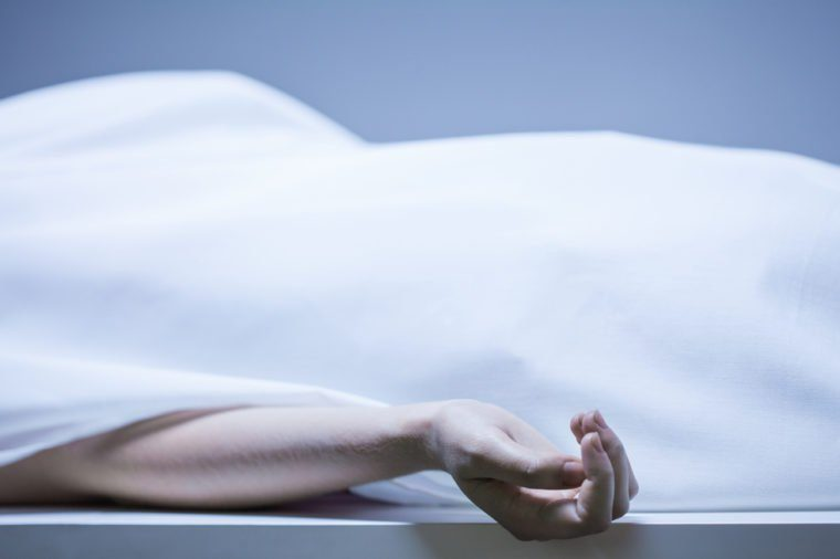 Remains of person in the morgue, horizontal