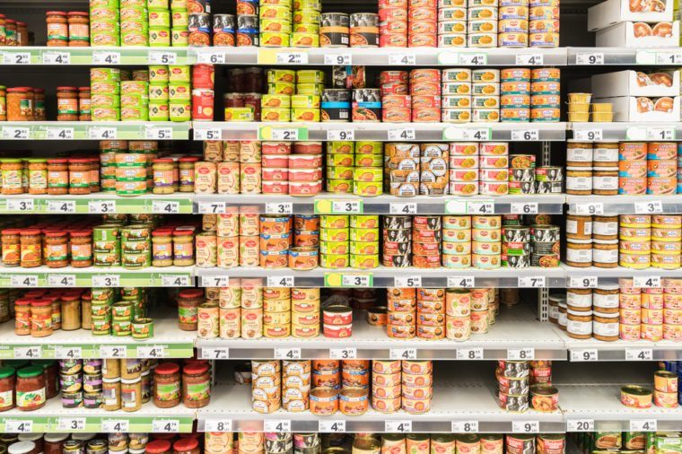 BUCHAREST, ROMANIA - MARCH 01, 2015: Canned Food On Supermarket Stand.