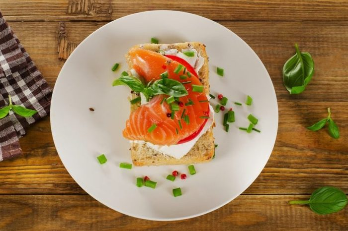 Sandwich with salmon. Top view