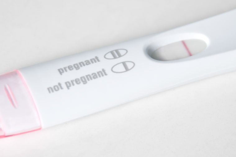 Picture of a pregnancy test with not pregnant results