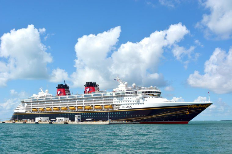 KEY WEST, FL.-OCTOBER 01: the Disney Magic, a Disney Cruise Line ship, docks in Key West, Fl., on October 01, 2015. The cruise ship is 984 feet long and can accommodate up to 2400 passengers.