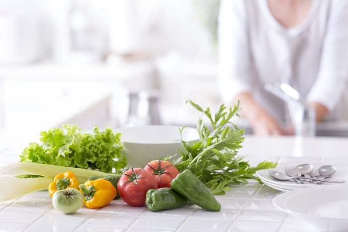 The kitchen counter vegetables