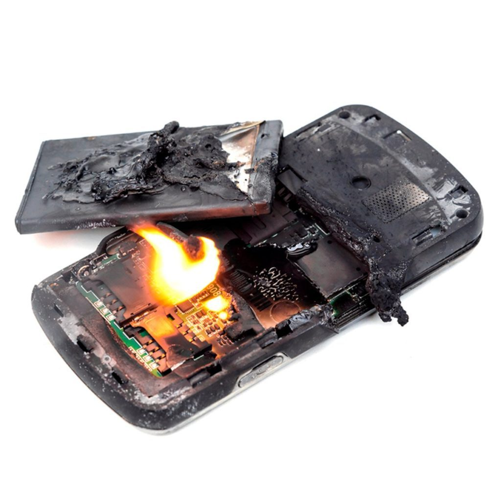 Smartphones burned