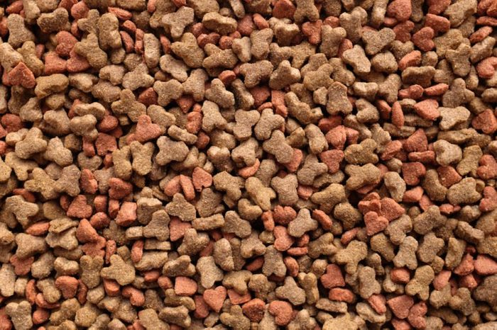 Dried cat food, shaped kitty kibble as an abstract background texture