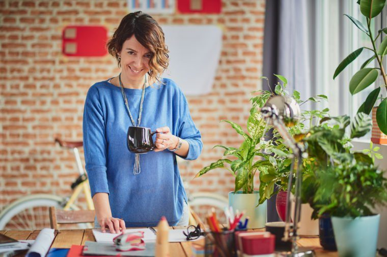 Woman Working at modern start up home office