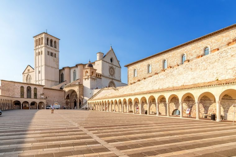 Assisi, Italy. Basilica of St. Francis, XIII century. and a portico, XV century. Included in the list of UNESCO