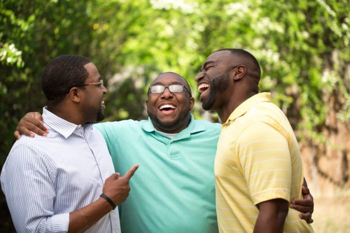 Brothers laughing and having fun.