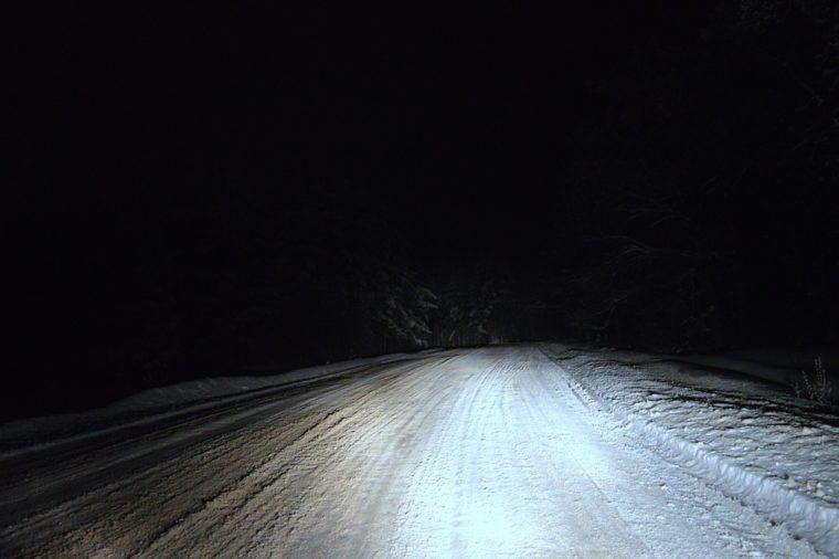 dirt, road winter night