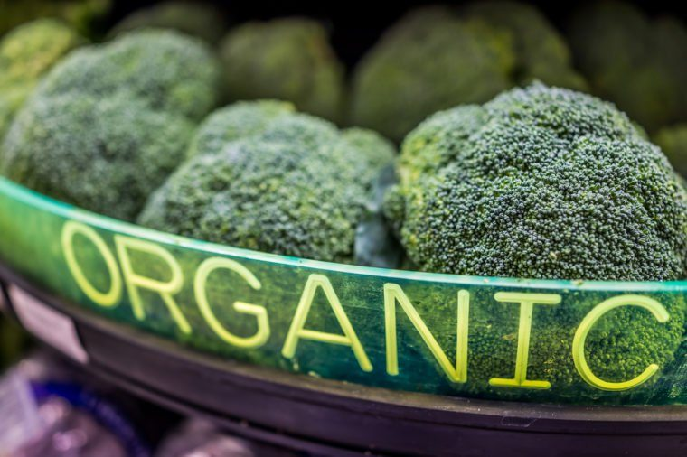 Broccoli display in store with organic sign