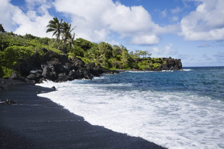 Black sand beach in Maui, Hawaii.