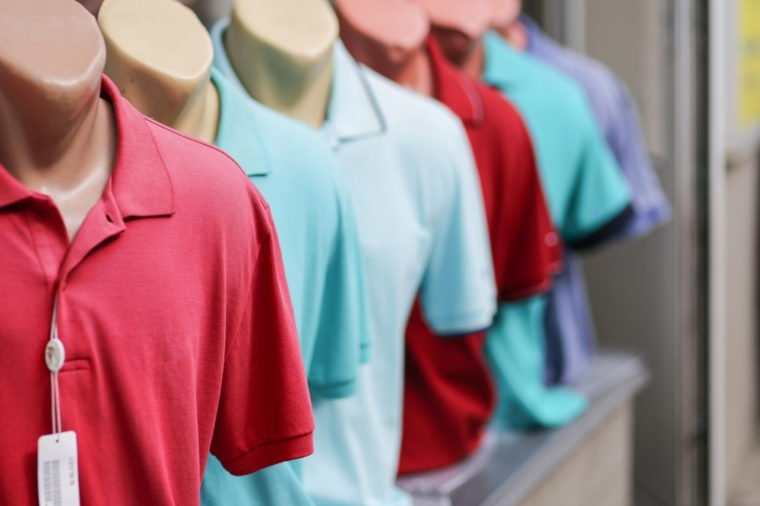 Polo shirts on mannequins in store