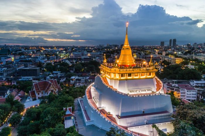 The Golden Mountain Pagoda, the famous temple in Thailand. Aerial Photography