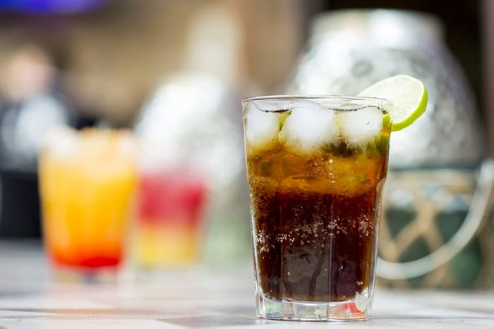 Soda drink with ice and lime