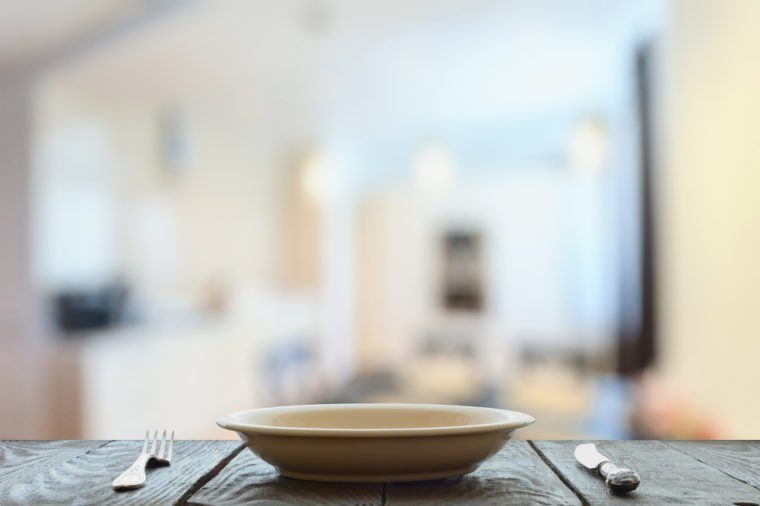 empty plate with fork and knife on wooden table in the living room