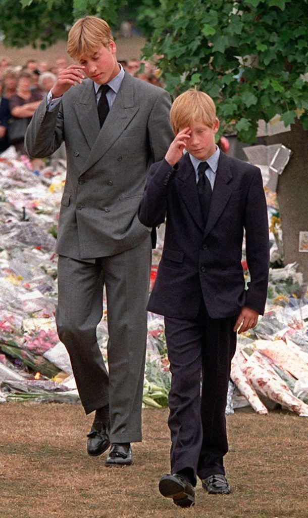 Prince William and Prince Harry at funeral of Princess Diana