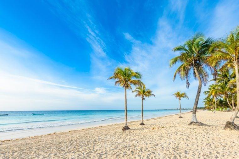 Paradise Beach also called Playa Paraiso at sunrise - beautiful and tropical caribbean coast of Tulum in Quintana Roo, Riviera Maya, Mexico