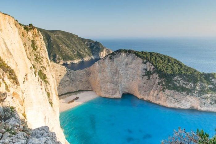 Navagio beach, famous lanscape of Zakinthos island. Shipwreck Bay in Zakynthos
