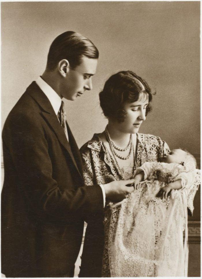 Queen Elizabeth II as a baby with her parents