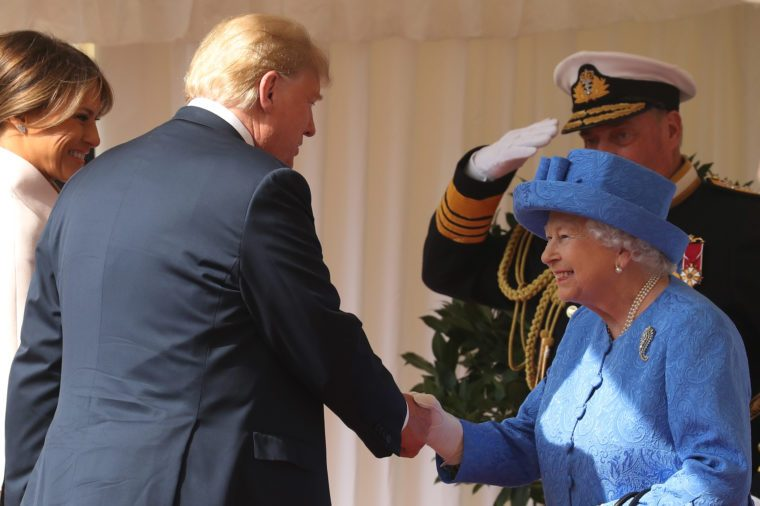 Melania Trump, Donald Trump and Queen Elizabeth II