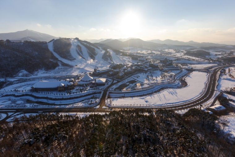PYEONGCHANG, SOUTH KOREA: Winter view of ski resort in Pyeongchang, South Korea. PYEONGCHANG, SOUTH KOREA/2016