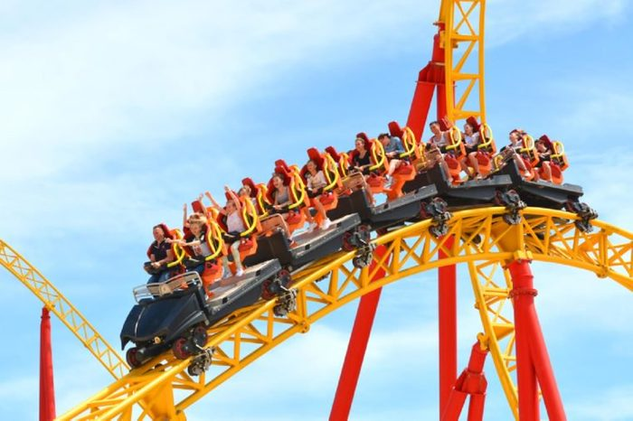 """SOCHI, RUSSIA - June 18, 2017: Extreme entertainment - """"roller coaster"""" Snake Gorynych in Sochi Park, which entered the TOP-25 of the best parks in Europe in 2016"""