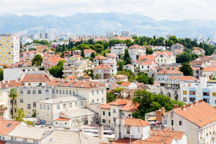 SPLIT, CROATIA - AUG 22, 2014: Aerial view of the Architecture of Split, Croatia. Split is the largest city of the region of Dalmatia and a popular touristic destination