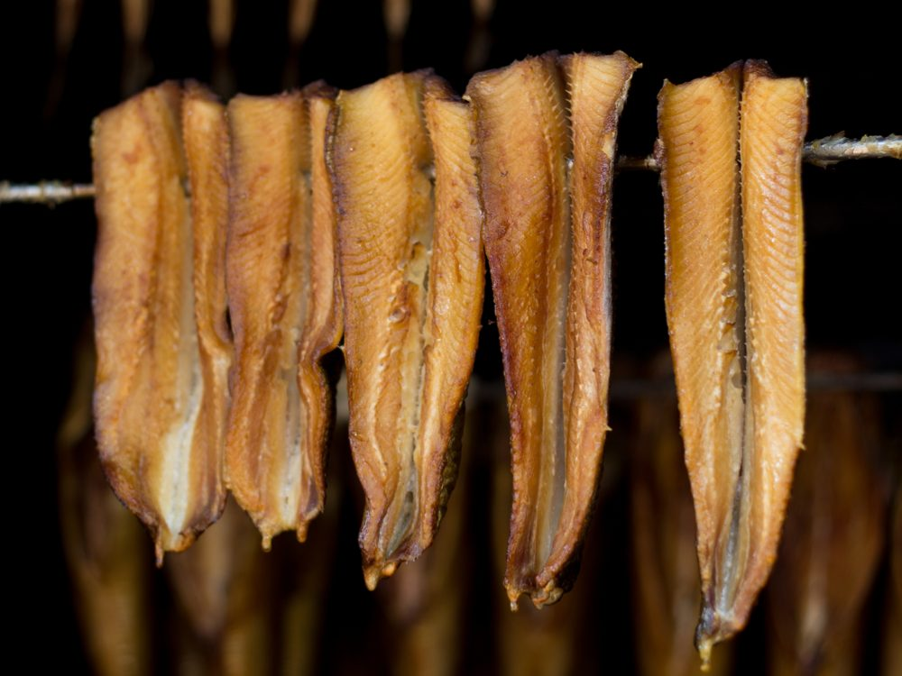 Smoked herring in smokehouse