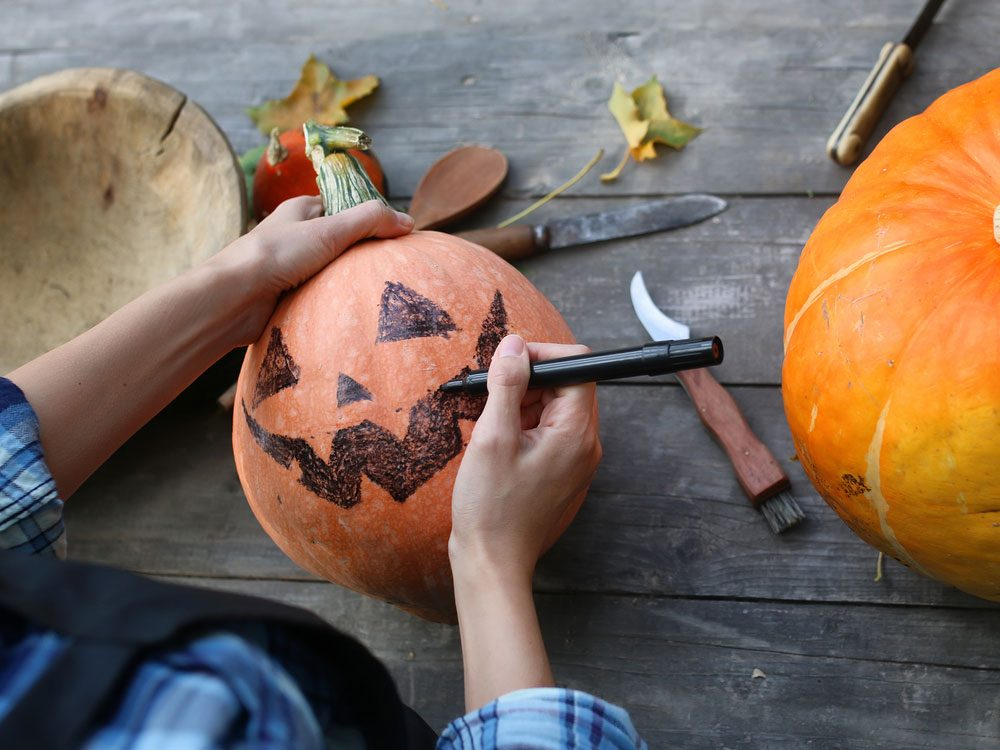 Pumpkin carving preparation