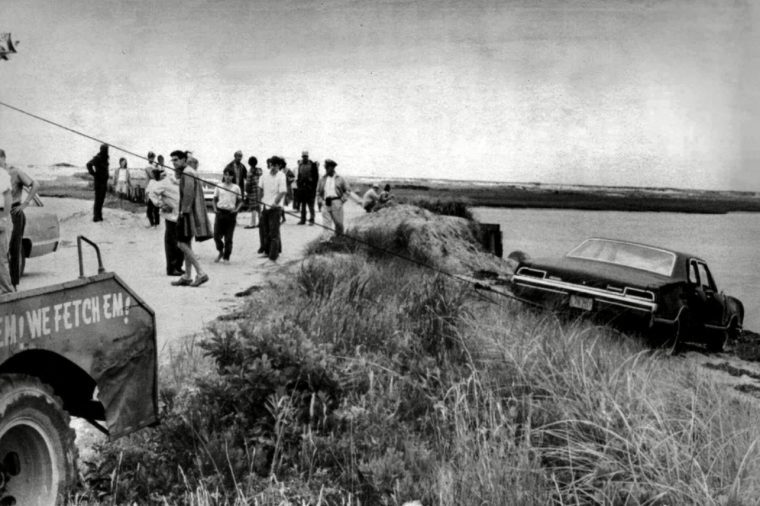 U.S. Sen. Edward Kennedy's car being pulled from the water next to the Dike Bridge on Chappaquiddick Island in Edgartown, Mass. on Martha's Vineyard. A new feature film is in the works about the tragedy on the small Massachusetts island nearly a half century ago that rocked the Kennedy political dynasty. Kennedy's passenger, 28-year-old Mary Jo Kopechne, was trapped in the car after it went off the bridge and died