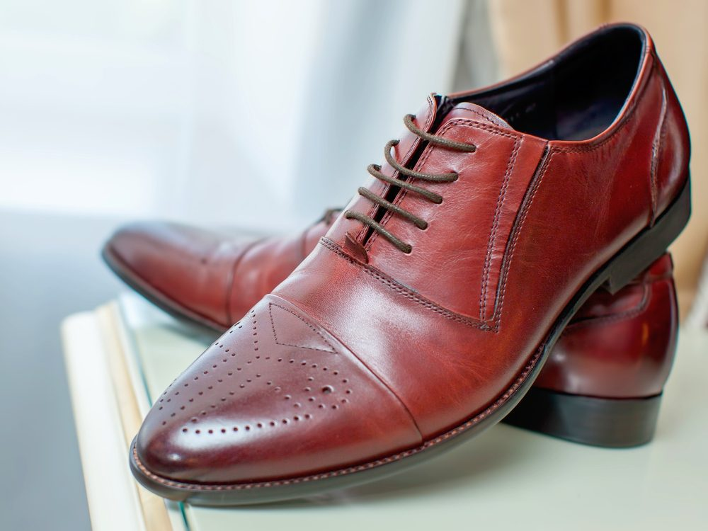Burgundy leather dress shoes