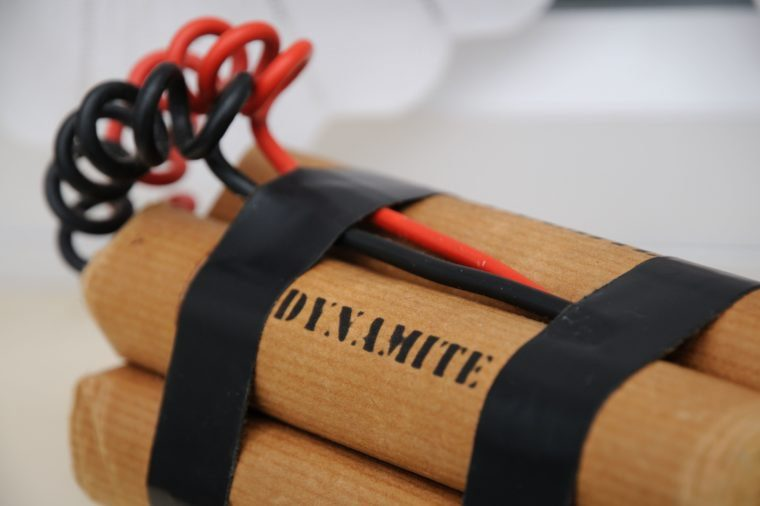 Sticks of dynamite and some wires taped together