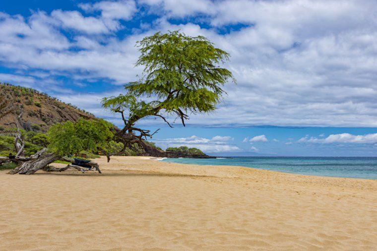 Makena Big Beach near Wailea Maui Hawaii USA on a sunny day with blue water