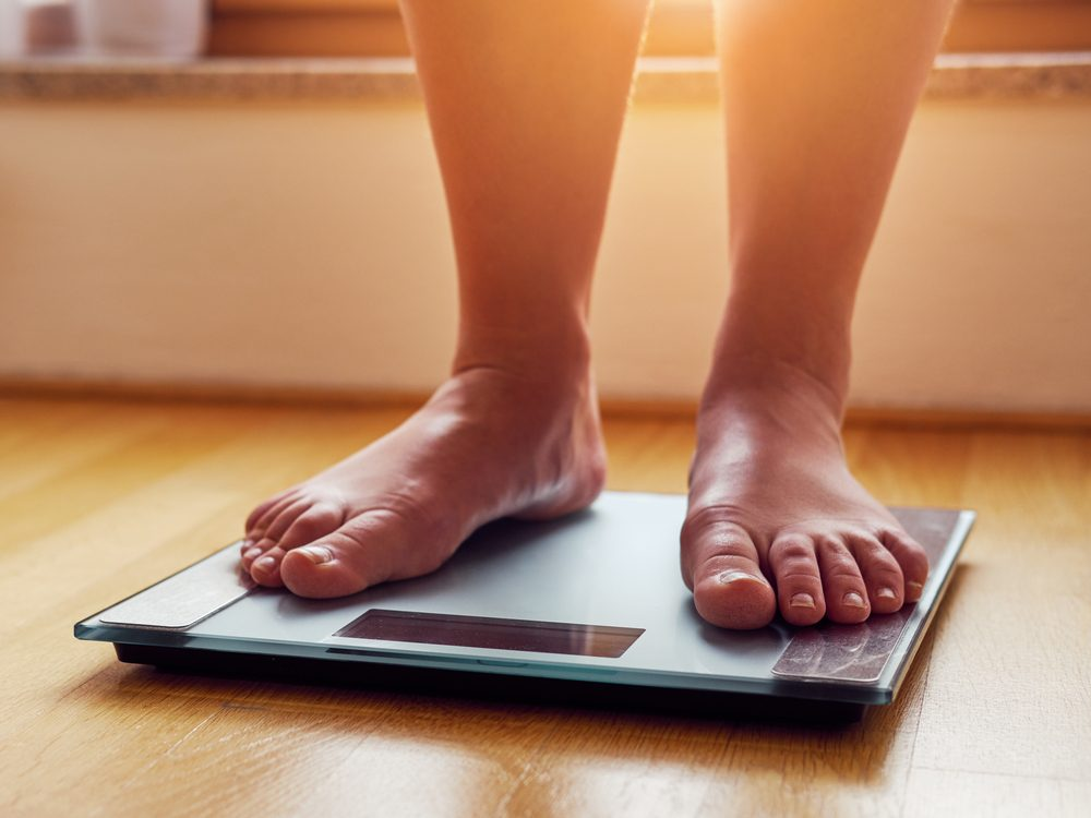 Stepping on weight scale