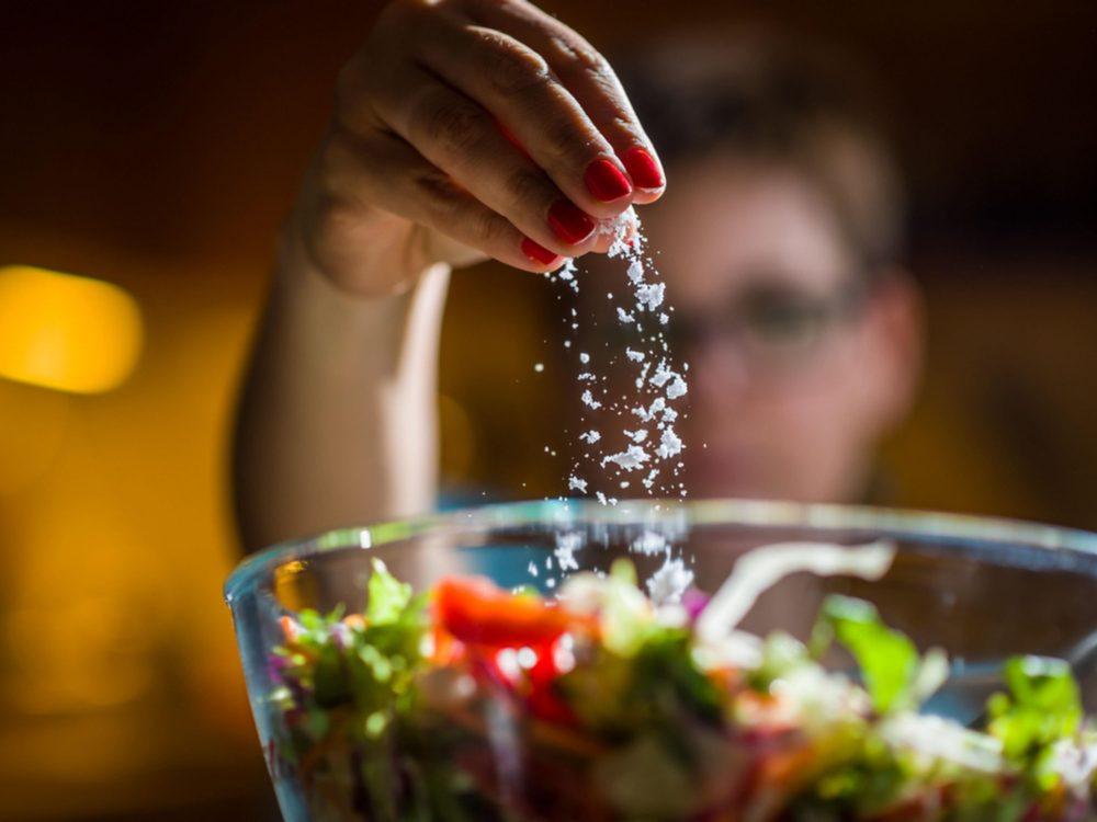 Adding salt to salad