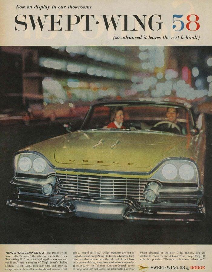 '58 swept wing dodge ad