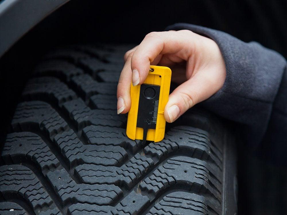 Check tire tread depth for better gas mileage