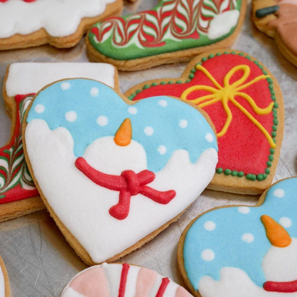 Winter and Christmas decorated cookies - background