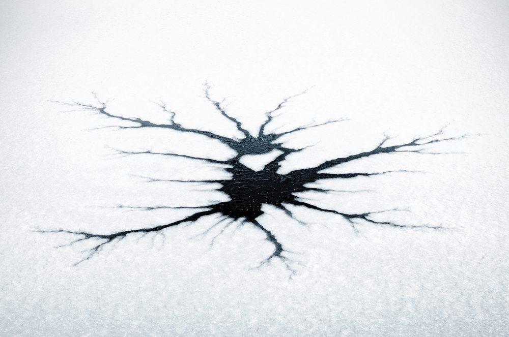 Cracked ice in strange pattern