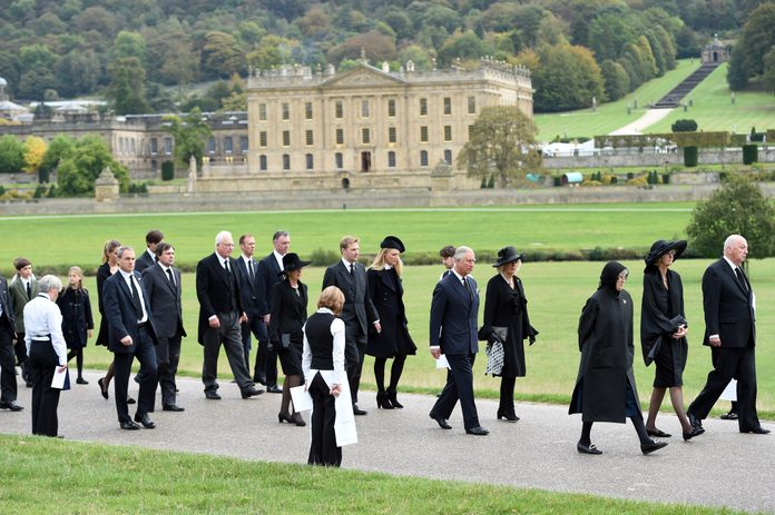 Funeral of The Dowager Duchess of Devonshire, Derbyshire, Britain - 02 Oct 2014
