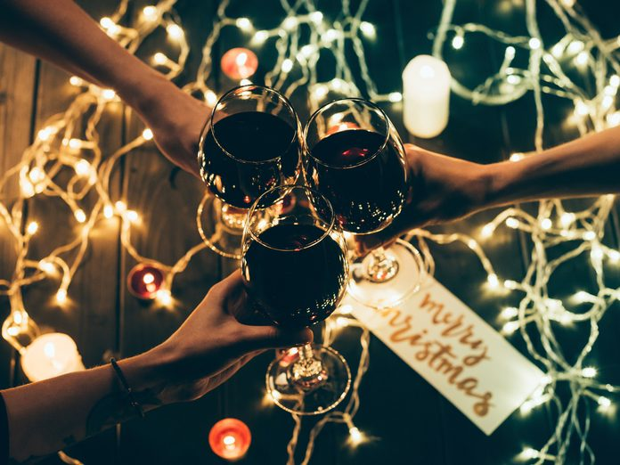 Wine glasses and Christmas tree