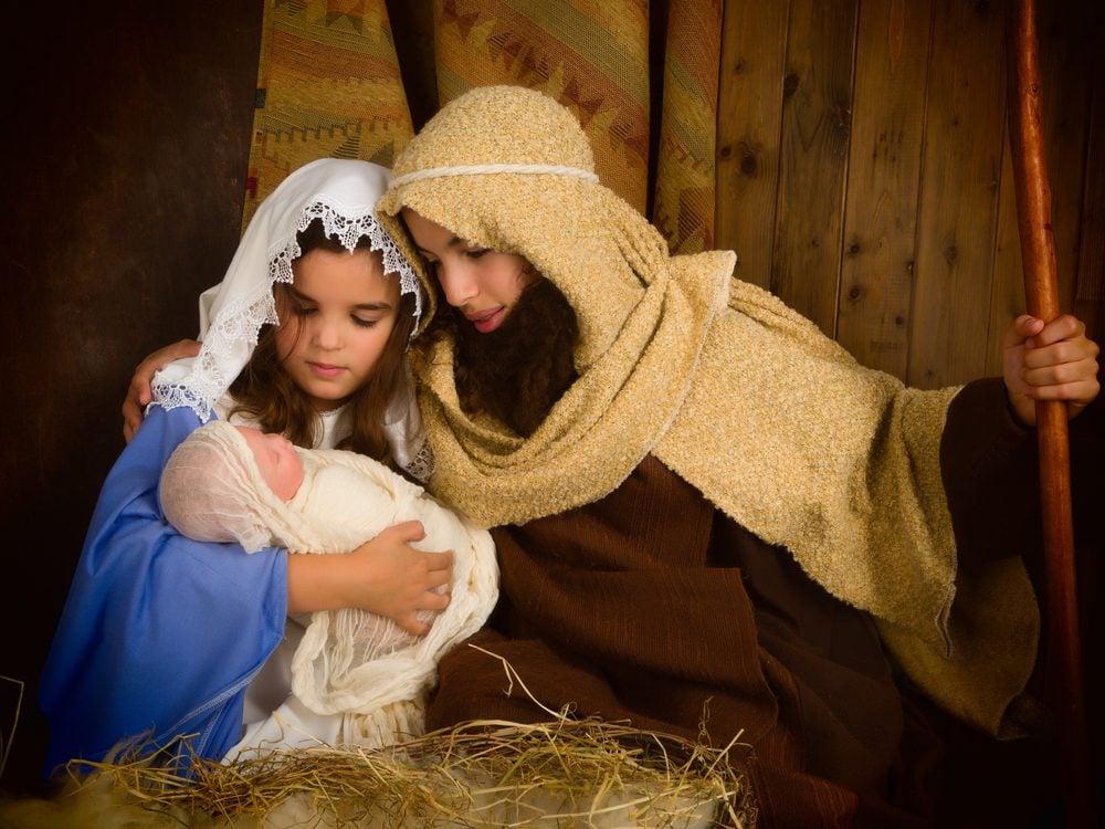 Nativity scene with children