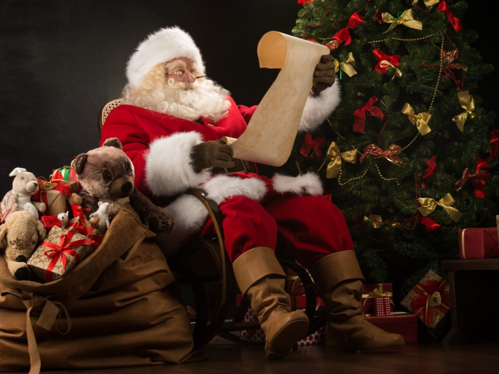 Santa Claus reading his list