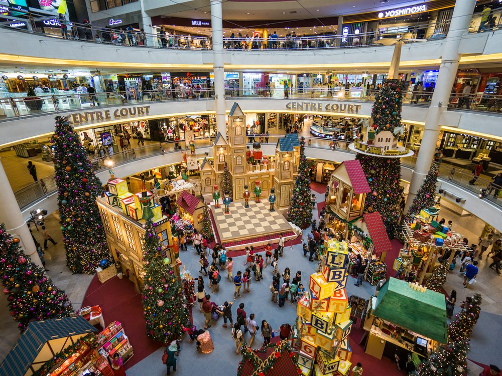 Christmas decorations at shopping mall