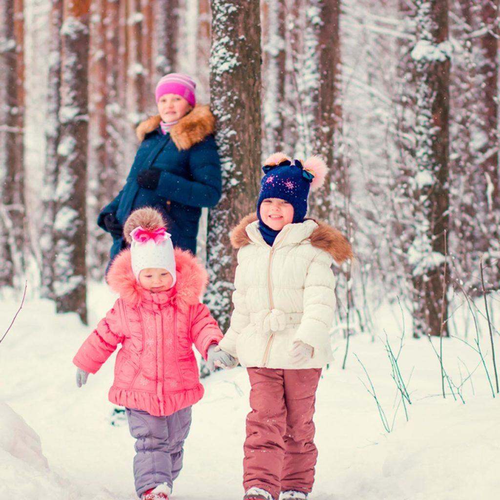 Family taking a winter stroll