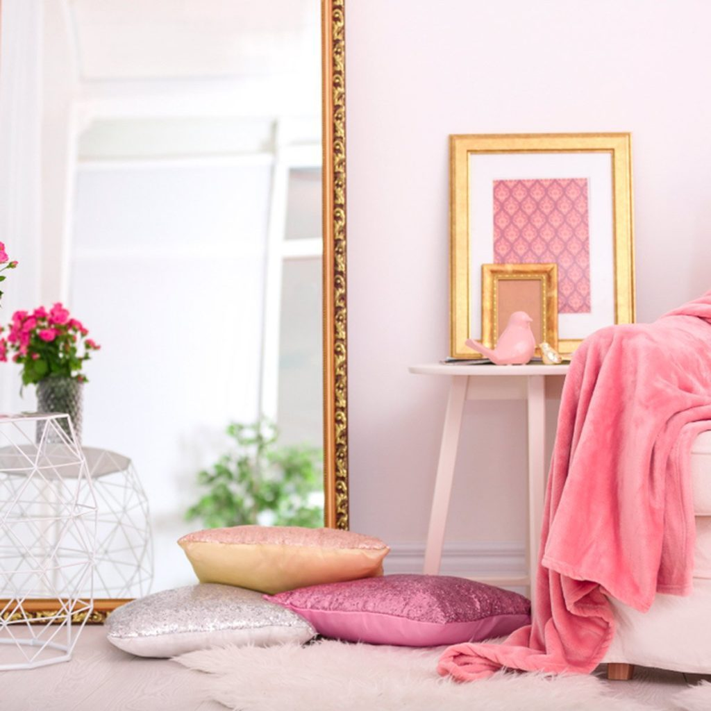 Pink-hued room