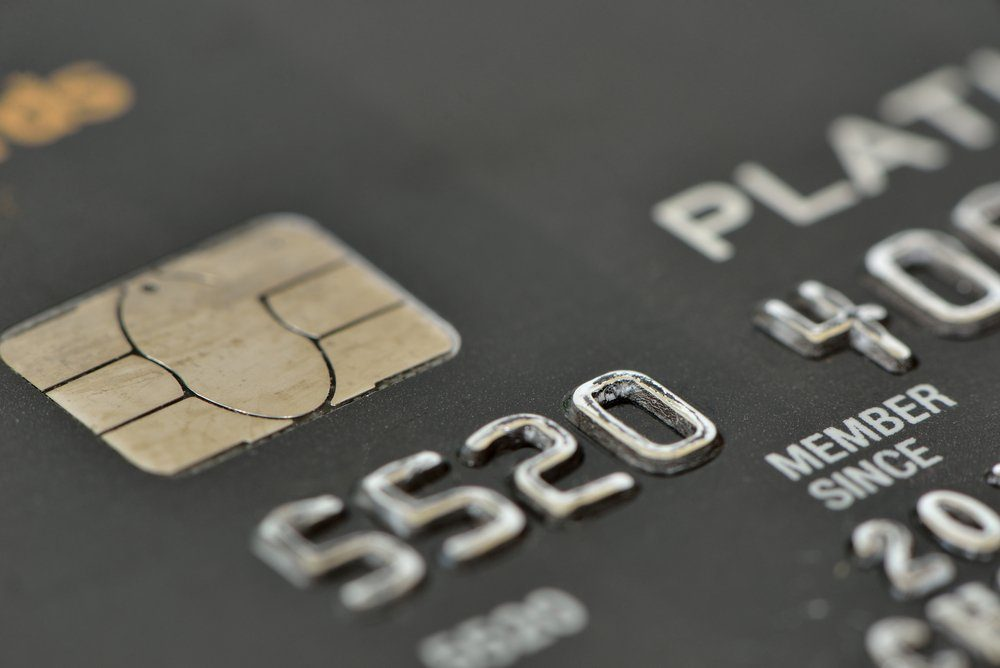macro shot of an old credit card