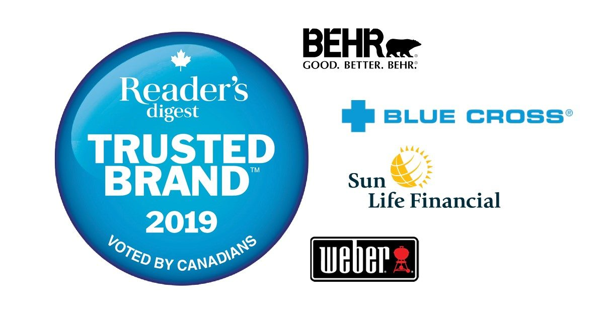 Celebrating Reader's Digest Trusted Brand™ 2019 Winners as Voted by Canadians