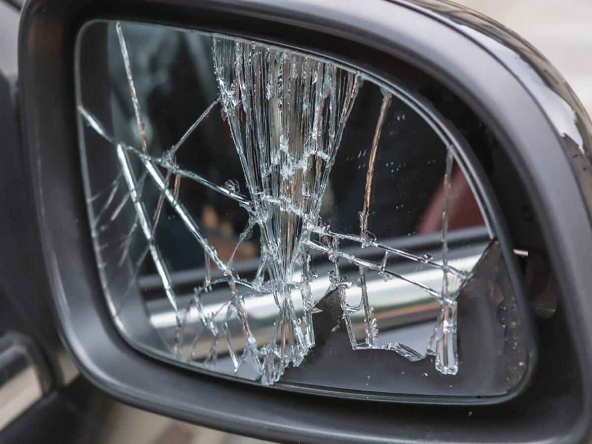 Broken side view mirror glass